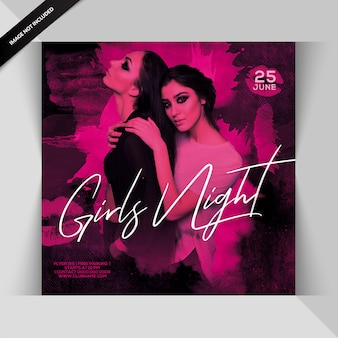 Panfleto de festa noturna para meninas