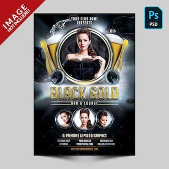 Panfleto de festa preto e dourado