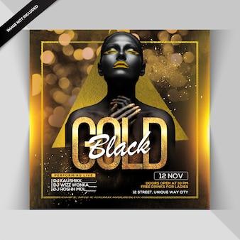 Panfleto de festa preto ouro