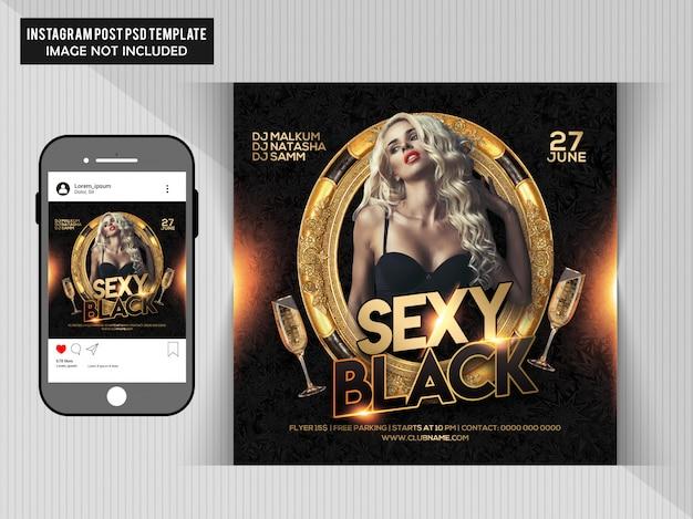 Panfleto de festa preto sexy