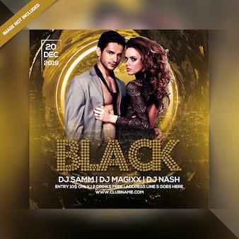 Panfleto de festa preto