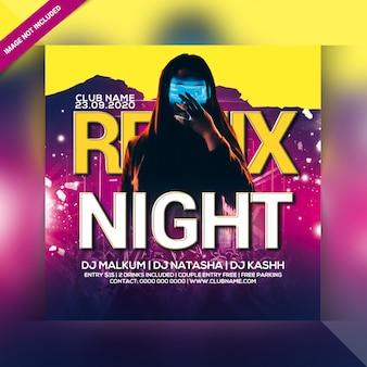 Panfleto de festa remix noite