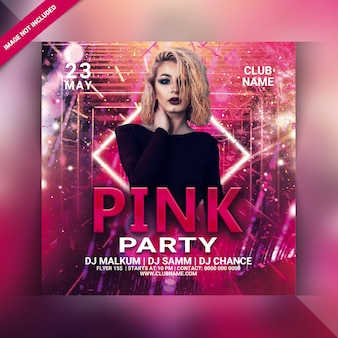 Panfleto de festa rosa