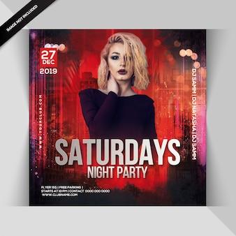 Panfleto de festa sábado à noite