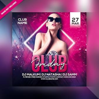 Panfleto de festa sexta-feira clube