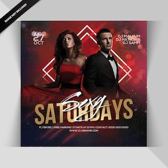 Panfleto de festa sexy de sábado