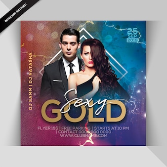 Panfleto de festa sexy ouro