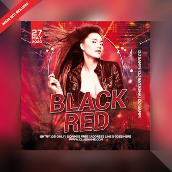 Panfleto de festa vermelho preto