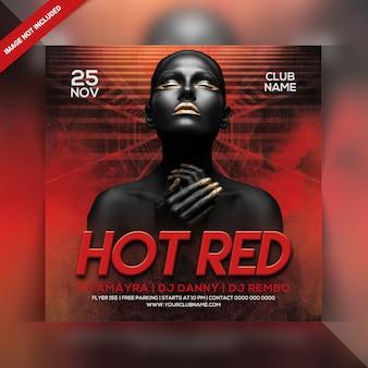 Panfleto de festa vermelho quente