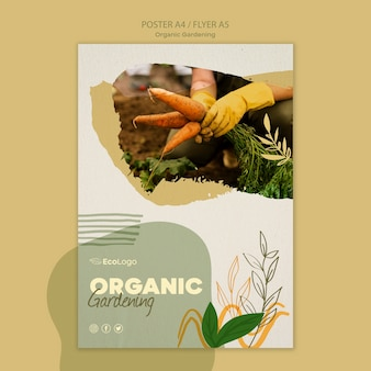 Panfleto de jardinagem orgânico com foto