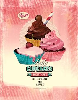 Panfleto de loja de doces cupcakes.