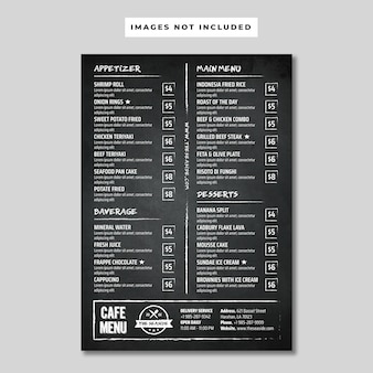 Panfleto de menu de café de quadro-negro