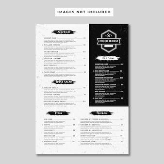 Panfleto de menu de comida grunge