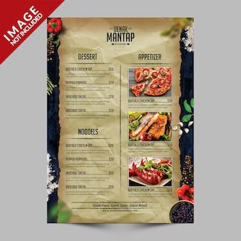 Panfleto de menu de comida vintage