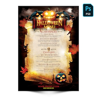 Panfleto de menu de halloween