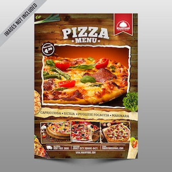 Panfleto de menu de pizza