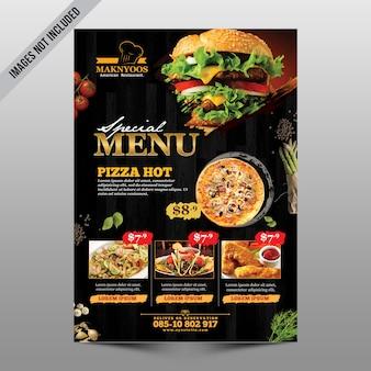Panfleto de menu de restaurante