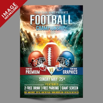 Panfleto de modelo de campeonato de futebol