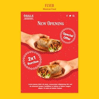 Panfleto de modelo de comida mexicana