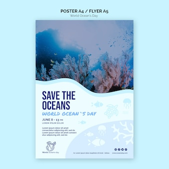 Panfleto de modelo de dia mundial do oceano