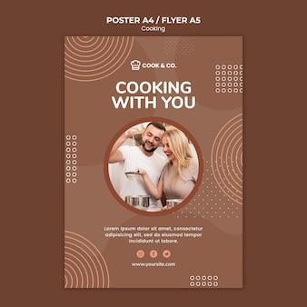 Panfleto de modelo em casa cozinhando