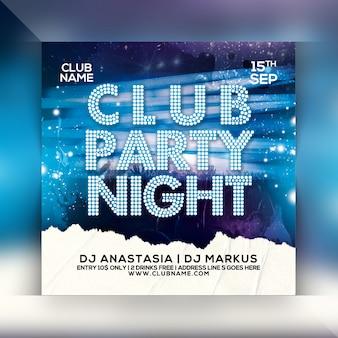 Panfleto de noite de festa do clube