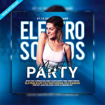 Panfleto de noite de festa sons electro