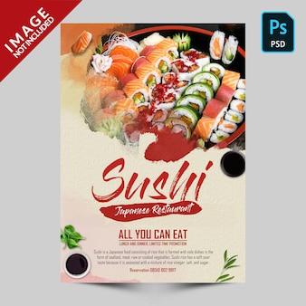 Panfleto de promoção de sushi