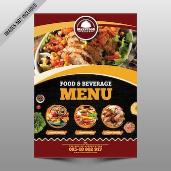 Panfleto do menu de comida