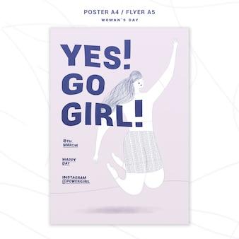 Panfleto motivacional do dia da mulher