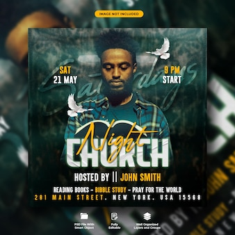 Panfleto noturno da igreja aos sábados e modelo de bannert da web