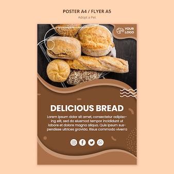 Panfleto para negócios de culinária de pão