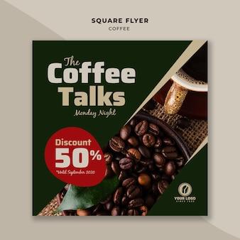 Panfleto quadrado café com desconto