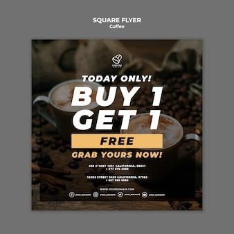 Panfleto quadrado café com oferta