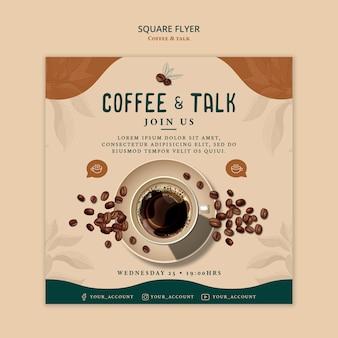 Panfleto quadrado café e conversa
