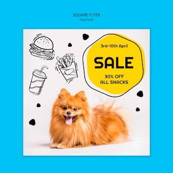 Panfleto quadrado colorido de comida de cachorro