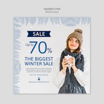 Panfleto quadrado com vendas de inverno