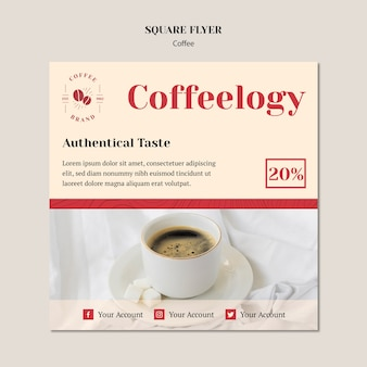 Panfleto quadrado criativo café