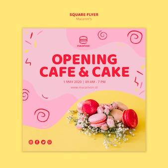 Panfleto quadrado de café e bolo de abertura