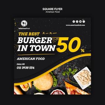 Panfleto quadrado de comida americana