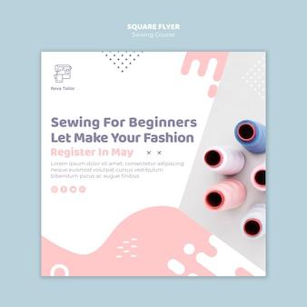 Panfleto quadrado de curso de costura