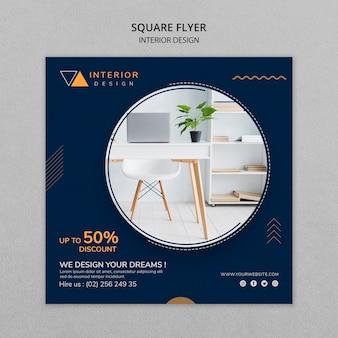 Panfleto quadrado de design de interiores com foto