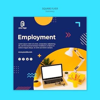 Panfleto quadrado de emprego e memphis design