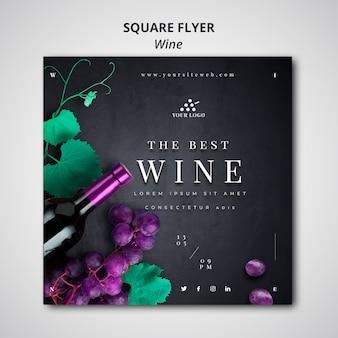 Panfleto quadrado de empresa de vinho