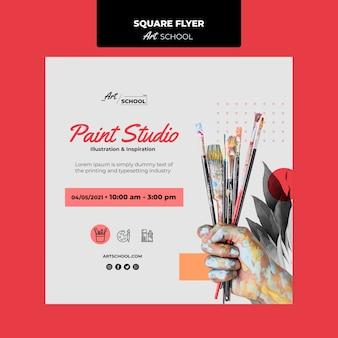 Panfleto quadrado de escola de arte