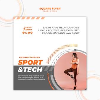 Panfleto quadrado de esporte e tecnologia