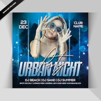 Panfleto quadrado de festa à noite urbana