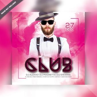 Panfleto quadrado de festa de clube de dj
