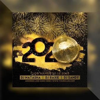 Panfleto quadrado de festa de comemoração de ano novo 2020