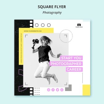 Panfleto quadrado de fotografia criativa